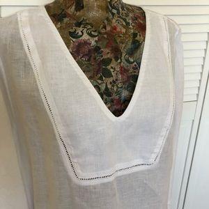 JCrew White Linen Cover Up Tunic